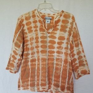Columbia women's 3/4 sleeve blouse top size large.